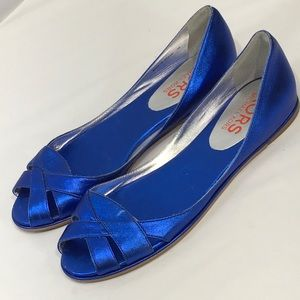 Michael Kors D'Orsay Flats Blue Metallic 7M